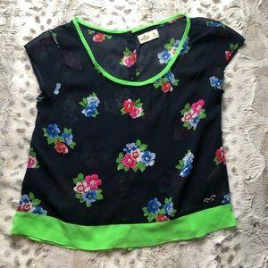 Hollister Sheer Floral Top Back Buttons Up